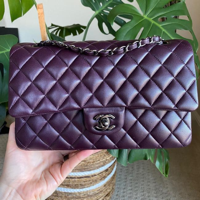Item - Double Flap Amazing Condition Medium Quilted Dark Prune Rhw A01112 Purple Lambskin Leather Shoulder Bag