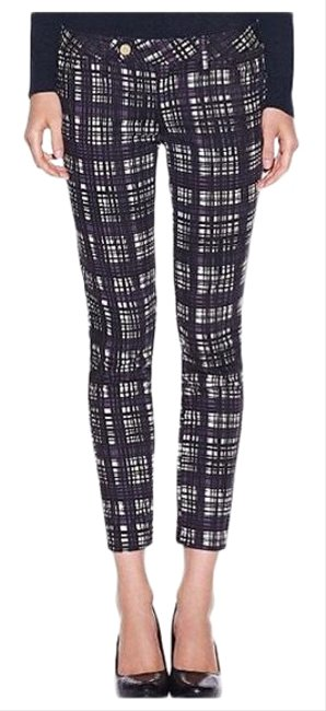 Item - Black White Navy and Purple Check Print Connor Front Tab Skinny Jeans Size 0 (XS, 25)