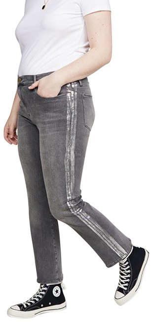 Item - Grey Silver Le High Straight Foil Tux Capri/Cropped Jeans Size 8 (M, 29, 30)