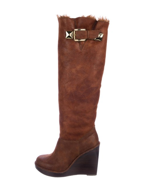 Item - Brown Shearling Round-toe with Stacked Wedge Heels Boots/Booties Size US 9.5 Regular (M, B)