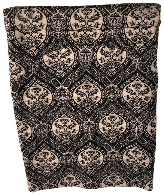 Item - Black/Beige/Gold Knit Baroque Pencil Skirt Size 8 (M, 29, 30)