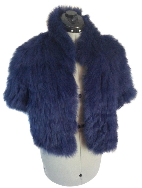 Item - Blue Signature Knitted Fox Bolero Coat Size 8 (M)