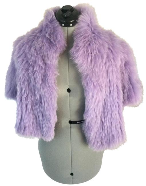 Glamourpuss Lavender Signature Knitted Fox Bolero Coat Size 12 (L) Glamourpuss Lavender Signature Knitted Fox Bolero Coat Size 12 (L) Image 1