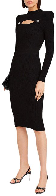 Balmain Black with Tag Cut-out Rib Knit Mid-length Cocktail Dress Size 10 (M) Balmain Black with Tag Cut-out Rib Knit Mid-length Cocktail Dress Size 10 (M) Image 1