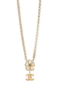 Alorna CHANEL Gold Clover CC Charm Necklace