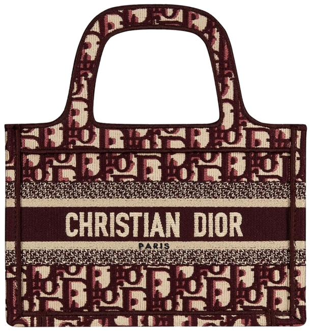 Item - Top Handle Bag Oblique Logo Burgundy Embroidered Mini Book Red Canvas Tote