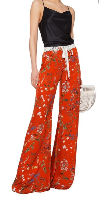 Item - Red Floral Print Silk Pants Size 4 (S, 27)