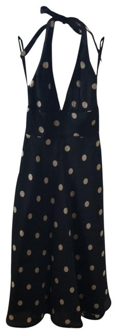 Item - Black and Gold Polka Dot Mid-length Cocktail Dress Size 0 (XS)