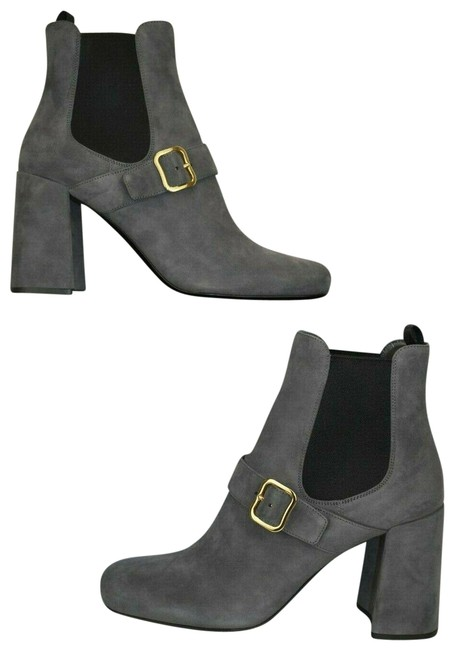 Item - Gray 1t159h Suede Belted Buckle Chelsea Heel Ankle Italy Boots/Booties Size EU 40 (Approx. US 10) Regular (M, B)