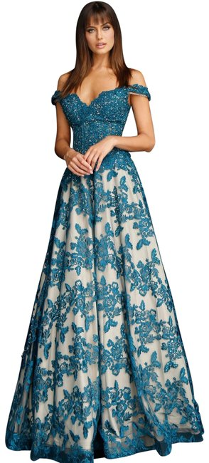 Item - Teal (Peacock) Clutch W Embroidered Illusion A-line Ball Gown Matching Long Formal Dress Size Petite 14 (L)