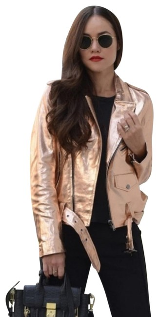 Item - Rose Gold Leather Moto Jacket Size 12 (L)