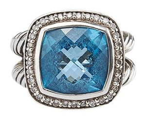 David Yurman David Yurman Diamond & Albion Blue Topaz 14mm Ring, Size 5.5 (39463)