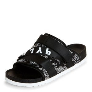 SJYP Bandana Logo Comfortable Summer Vintage Black Sandals