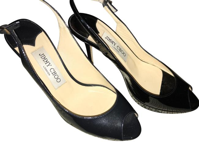 Item - Black Dark Blue Peeptoe Slingback Platforms Size EU 36 (Approx. US 6) Regular (M, B)