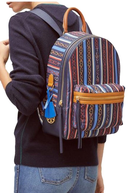 Item - Link Perry Zip Gemini Multi Stripe Nylon & Leather Backpack