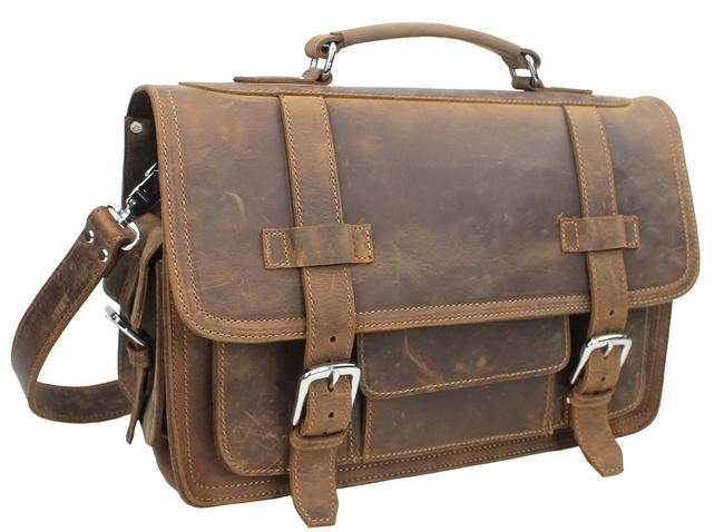Item - Camera Cowhide Heavy Duty Business Attach Travel L57 Vintage Brown Leather Laptop Bag