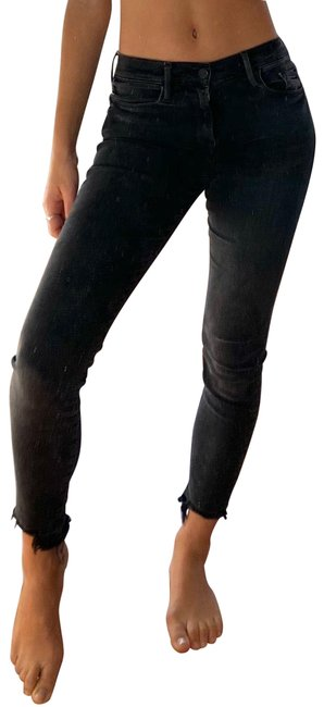 Item - Washed Out Black Dark Rinse Le De Jeanne Crop Skinny Jeans Size 0 (XS, 25)