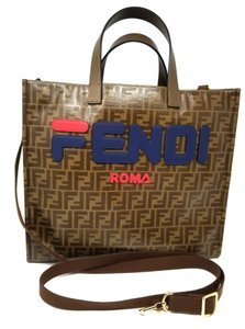 Fendi Beach Travel Carryon Shoulder Cross Body Tote in brown blue red
