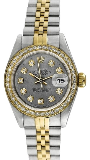 Preload https://item3.tradesy.com/images/rolex-stainless-steel-yellow-gold-black-white-slate-ladies-datejust-custom-diamond-dial-watch-2672917-0-1.jpg?width=440&height=440