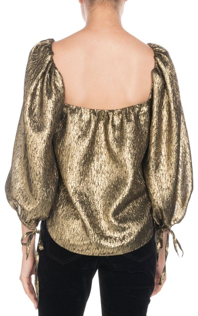 Item - Gold Metallic Jacquard Square Neck Puff Sleeve Cropped Blouse Size 6 (S)