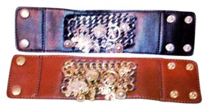Costume National Black or Brown Faux Leather Braclets