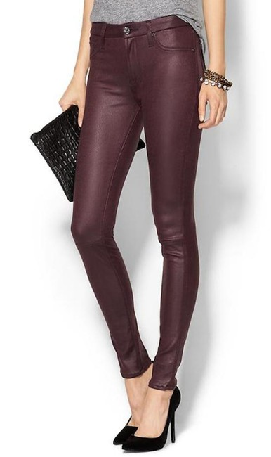 Item - Maroon Coated Bordeaux Ankle Cropped Denim Style No. Au8121894c Skinny Jeans Size 25 (2, XS)