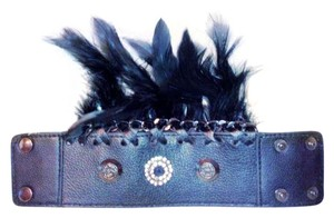 Costume National Black Bracelet with Feathers