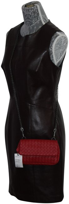 Item - Wine Faux Leather Mid-length Cocktail Dress Size 8 (M)
