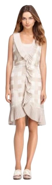 Item - Tapioca Tan and Cream Janetta Mid-length Night Out Dress Size 14 (L)
