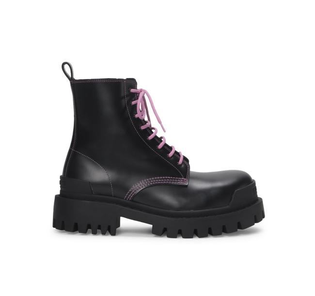Item - Black Pink Strike Leather Combat Boots/Booties Size EU 39.5 (Approx. US 9.5) Regular (M, B)