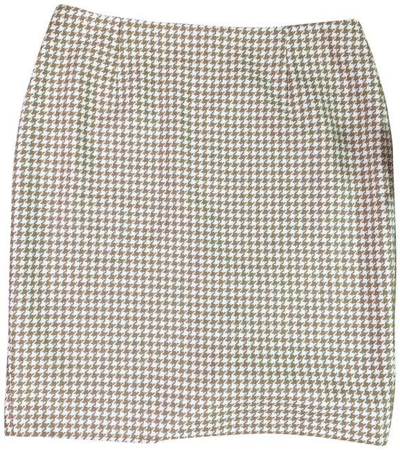 Item - Tan & White Wool Houndstooth Skirt Size Petite 12 (L)