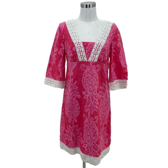 Item - Pink White N170 Designer Small Lace Shift Short Casual Dress Size 6 (S)