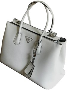 Prada Leather Unique Classic Deal Tote in White
