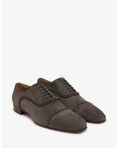 Christian Louboutin Gray Eton Flat Castor Gustone Studs Suede Lace Up Oxfords 47/ 14 Shoes