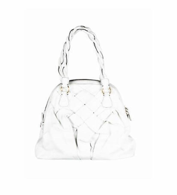 Item - Woven Couture White Leather Satchel