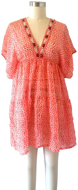 Item - Coral White Beach Coverup Short Casual Dress Size 10 (M)