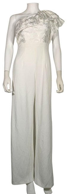 Item - White Ruffle One Shoulder Embroidered 0 Ne Romper/Jumpsuit