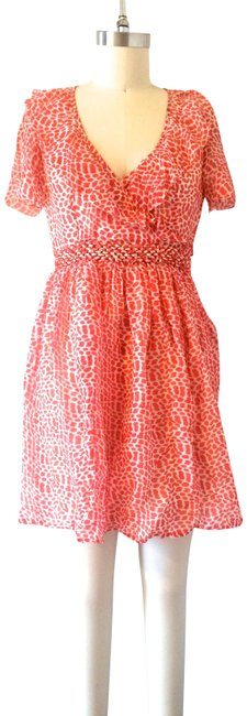 Item - Coral White Sheer Chiffon Day Short Casual Dress Size 10 (M)