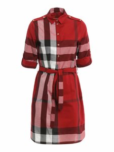 Burberry short dress Red Button Belted Check Collar Cotton on Tradesy