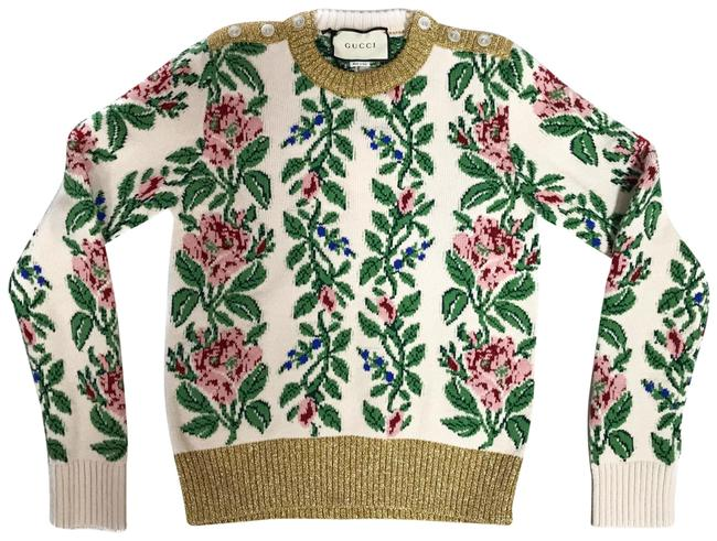 Item - New 493495 Women's Floral Wool Jacquard Knit Multicolor Sweater