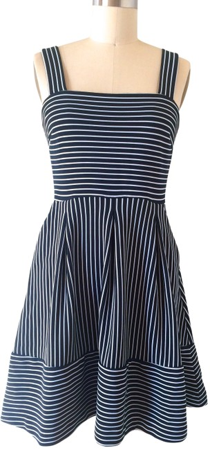 Item - Navy Blue White Knit Sundress Mid-length Casual Maxi Dress Size 6 (S)