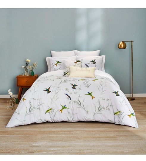 Ted Baker White/Green Fortune King Duvet Cover and Two King Shams. Other Image 2