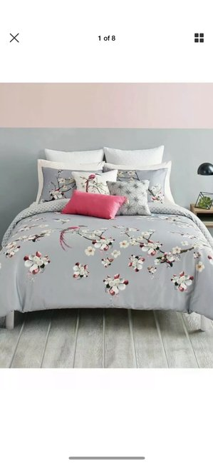 Ted Baker Gray/Pink New London Flight Of The Orient King Duvet Cover & Shams Other Ted Baker Gray/Pink New London Flight Of The Orient King Duvet Cover & Shams Other Image 1