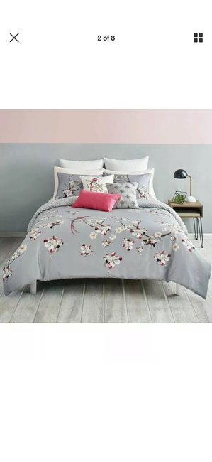 Ted Baker Gray/Pink New London Flight Of The Orient King Duvet Cover & Shams Other Ted Baker Gray/Pink New London Flight Of The Orient King Duvet Cover & Shams Other Image 2