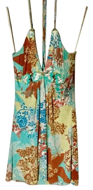Item - Teal Blue Multi Tropical Mid-length Short Casual Dress Size 4 (S)