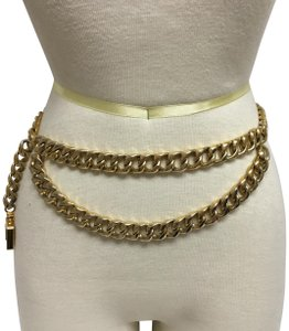 Chanel Gold chain belt with front loop and perfume bottle charm