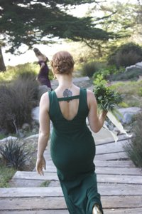 Green Polyester Modest Bridesmaid/Mob Dress Size 8 (M)