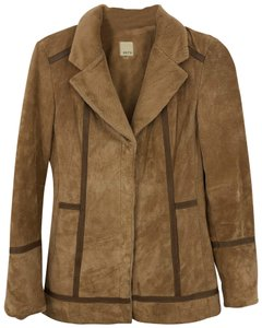 ecru Cognac brown Leather Jacket
