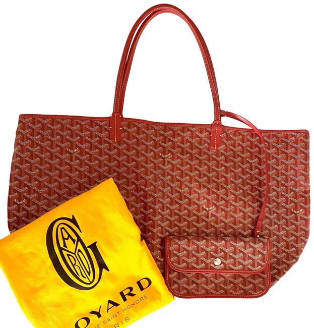 Item - Bag St Louis Gm Red Calfskin Leather and Canvas Tote