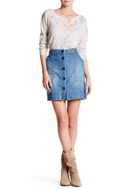 Item - Blue Sorren Braided Button Front Denim Skirt Size 4 (S, 27)